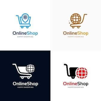 Conjunto de conceito de design de logotipo de loja online, vetor de modelo de design de logotipo de carrinho de compras