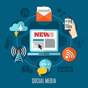 Conjunto de conceito de design de mídia social de laptop com informações de notícias na tela, bate-papo, wi-fi e ícones decorativos de nuvem ilustração plana