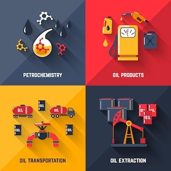 Conjunto de conceito de design de petróleo