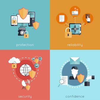 Conjunto de conceito de design de segurança de informações