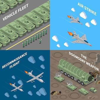 Conjunto de conceito de design de veículos militares 2x2 de veículo frota reconhecimento voo ataque aéreo apocalíptico arma quadrado ícones isométrica