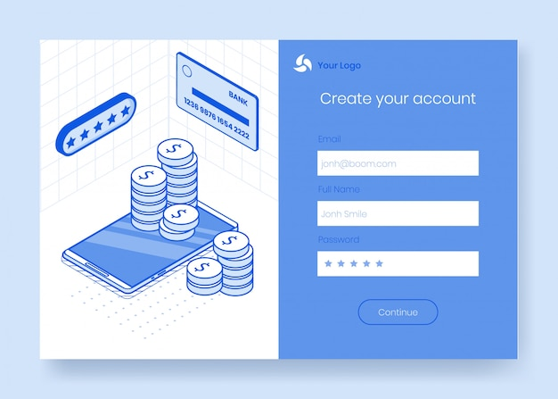 Conjunto de conceito de design digital isométrica de ícones 3d de app bancário on-line financeiro