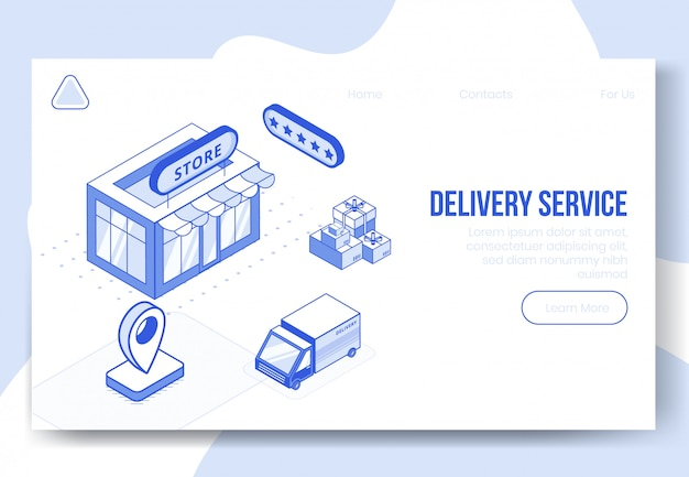 Conjunto de conceito de design digital isométrica de serviço de entrega