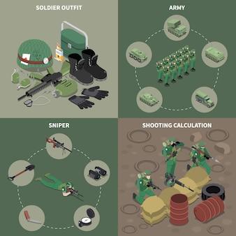 Conjunto de conceito de design do exército 2x2 de roupa de soldado atirador atirando em ícones quadrados de cálculo isométrico