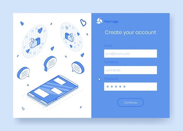 Conjunto de conceito de design isométrica digital de ícones 3d para app de bate-papo móvel
