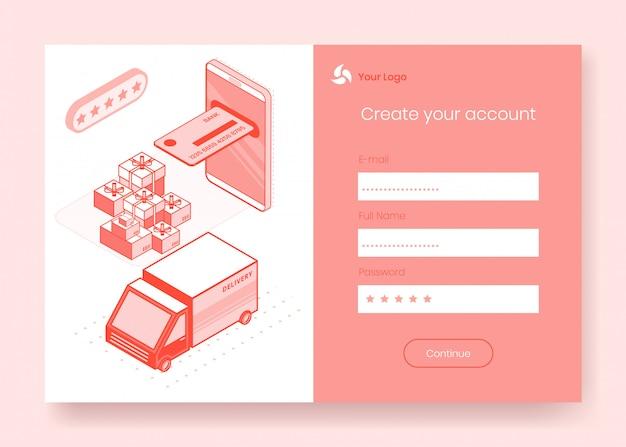 Conjunto de conceito de design isométrico digital