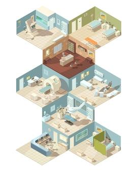 Conjunto de conceito de design isométrico interior de hospital de gabinete de sala de operação de enfermaria de recepção