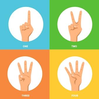 Conjunto de conceito de design mãos 2 x 2