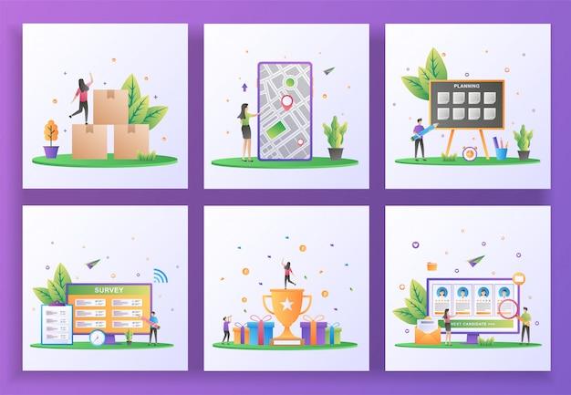 Conjunto de conceito de design plano. distribuição, gps, planejamento, pesquisa online, programa de recompensa, recrutamento online.