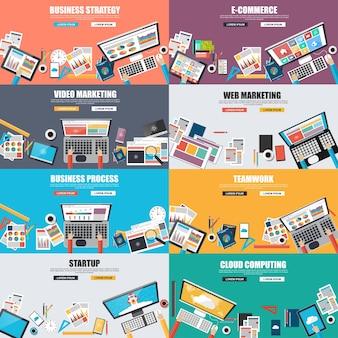 Conjunto de conceito de design plano para estratégia de negócios, vídeo e marketing na web, comércio eletrônico, ônibus