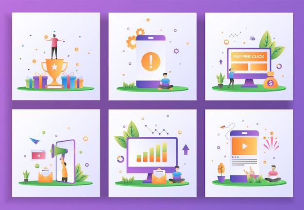 Conjunto de conceito de design plano. programa de recompensa, erro de aplicativo, pagamento por clique, indique um amigo, relatórios de vendas, mídias sociais.