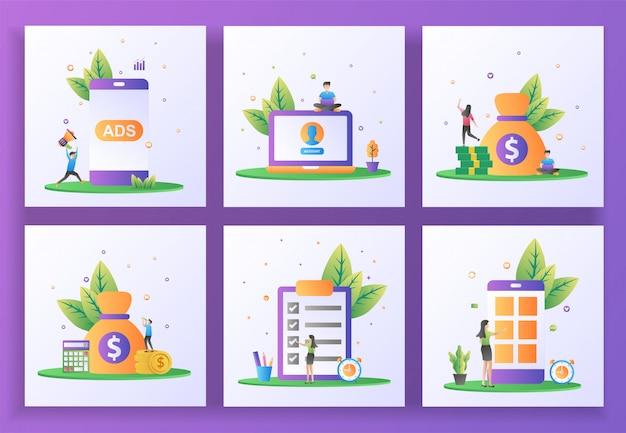 Conjunto de conceito de design plano. publicidade, conta de usuário, reprodução de vídeo, contabilidade, verificação de documentos, aplicativo móvel.