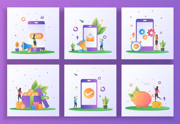 Conjunto de conceito de design plano. publicidade, marketing digital, atualização de aplicativos móveis, ganhar pontos, verificação de aplicativos, economizar dinheiro. ui app