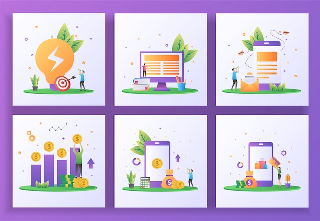 Conjunto de conceito de design plano. solução comercial, aprendizado on-line, email marketing, retorno do investimento