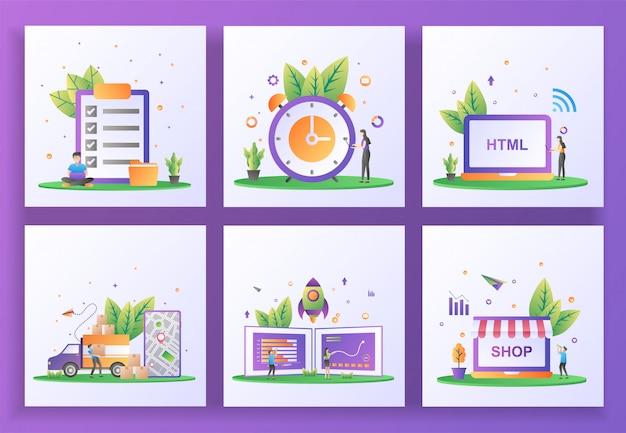 Conjunto de conceito de design plano. verificação de documentos, gerenciamento de tempo, desenvolvimento web, serviço de entrega, negócio inicial, loja on-line. , aplicativo