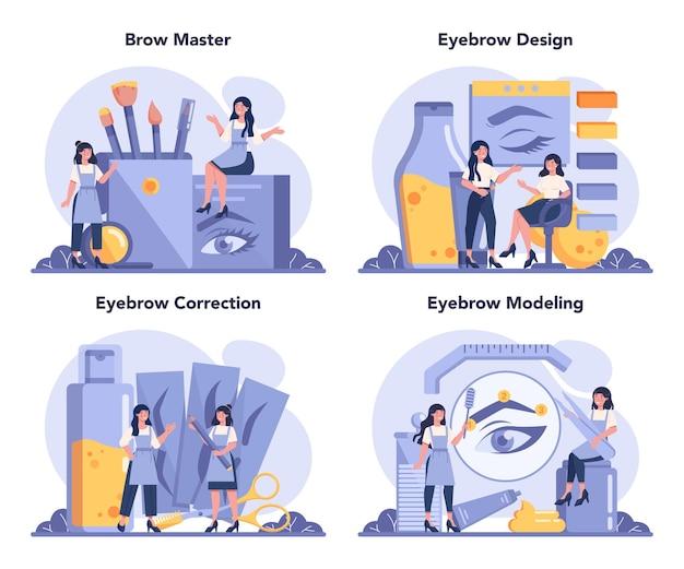 Conjunto de conceito de designer e mestre de sobrancelha