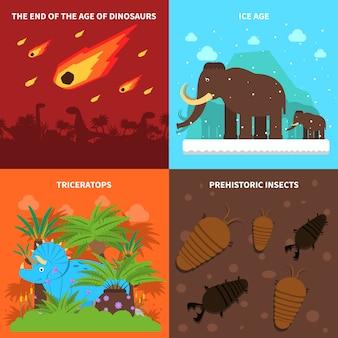 Conjunto de conceito de dinossauros