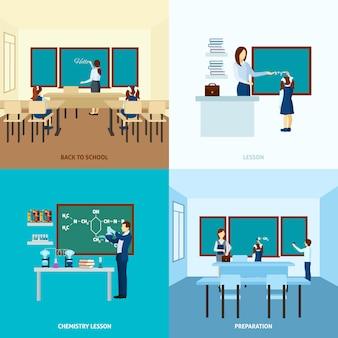 Conjunto de conceito de educação escolar
