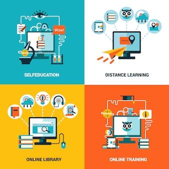 Conjunto de conceito de educação on-line