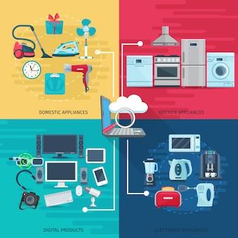 Conjunto de conceito de elementos do agregado familiar de equipamentos de cozinha de aparelhos domésticos e produtos digitais quadrados composição ilustração vetorial plana