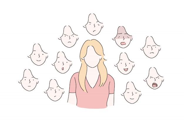 Conjunto de conceito de emoções de mulher.