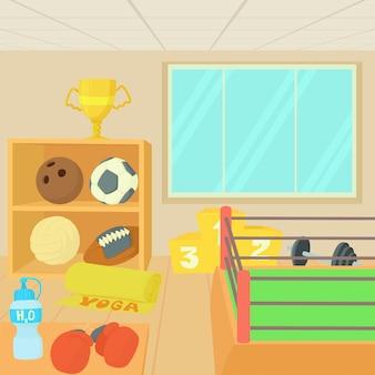 Conjunto de conceito de equipamentos de ginásio de esporte