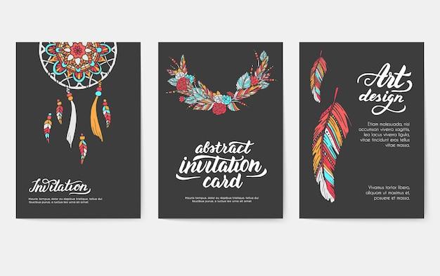 Conjunto de conceito de estilo de ilustração de ornamento boho. arte tradicional, cartaz, livro, resumo de layout.
