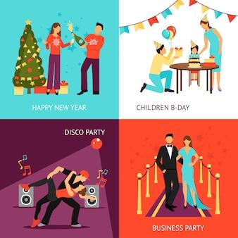 Conjunto de conceito de festa