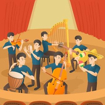 Conjunto de conceito de figuras de músicos de orquestra