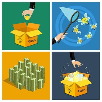 Conjunto de conceito de ideia. mão mantenha o dinheiro e o símbolo da ideia - lâmpada da caixa de ideia. design plano, ilustração vetorial