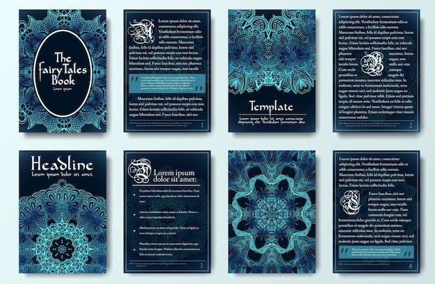 Conjunto de conceito de ilustração de ornamento de páginas de folheto de cauda misteriosa