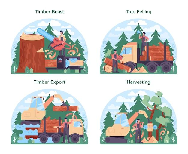 Conjunto de conceito de indústria madeireira e produção de madeira. exploração madeireira