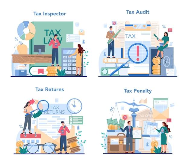 Conjunto de conceito de inspetor fiscal