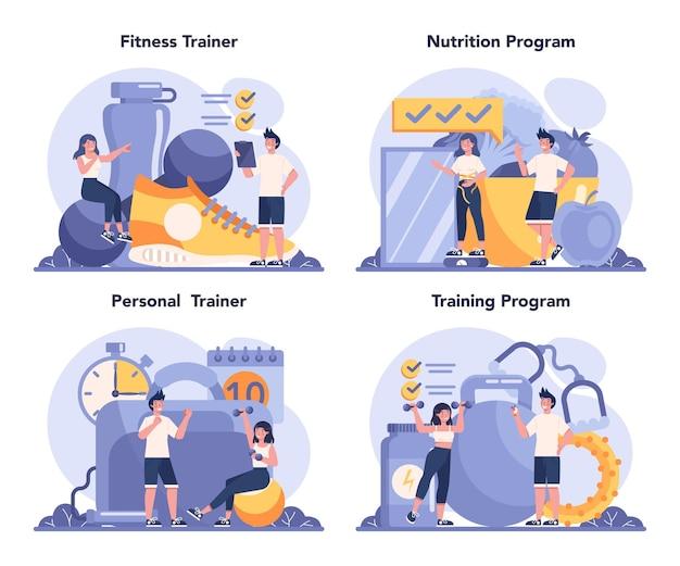 Conjunto de conceito de instrutor de fitness. treino na academia com esportista profissional. estilo de vida saudável e ativo.