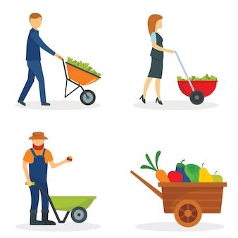 Conjunto de conceito de jardim de jarda de carrinho de mão
