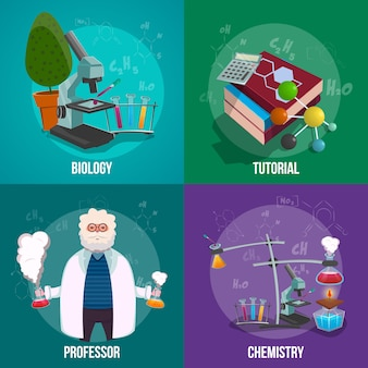 Conjunto de conceito de laboratório de química