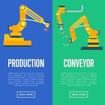 Conjunto de conceito de linha de produção moderna