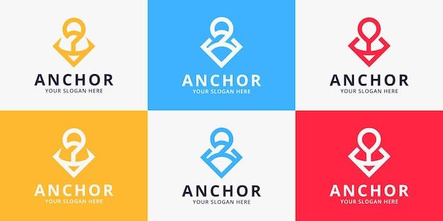 Conjunto de conceito de linha de uso de design de logotipo âncora