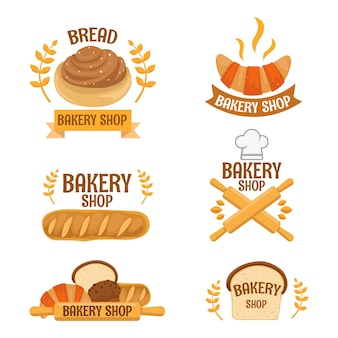 Conjunto de conceito de logotipo de padaria fofo com belas cores e formas