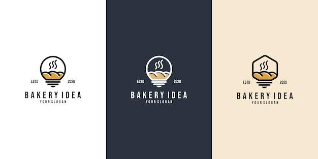 Conjunto de conceito de logotipo de padaria