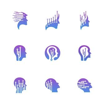 Conjunto de conceito de logotipo de tecnologia de cabeça