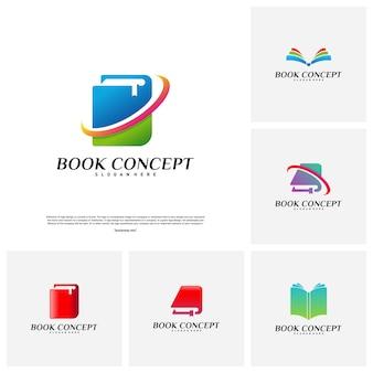 Conjunto de conceito de logotipo do livro. vetor de aprendizagem esperto do molde do projeto do logotipo da educação. ícone símbolo