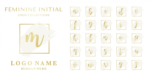 Conjunto de conceito de logotipo feminino inicial