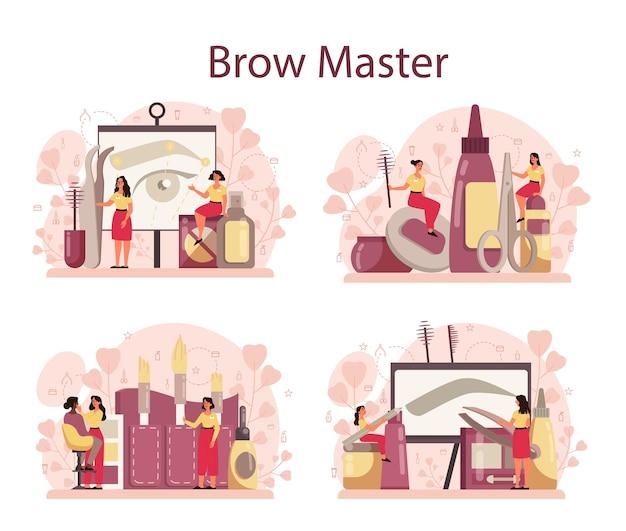 Conjunto de conceito de mestre e designer de sobrancelha. mestre tornando perfeito