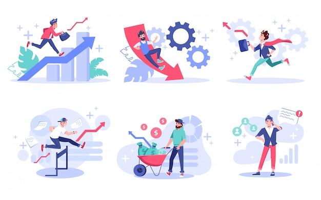 Conjunto de conceito de negócio criativo de empreendedor de pessoas. crescimento da carreira profissional, superação de obstáculos, processo de ganhar dinheiro, gestão de pessoas, chamada de negócios, desenvolvimento de estratégia. super-herói trabalhador