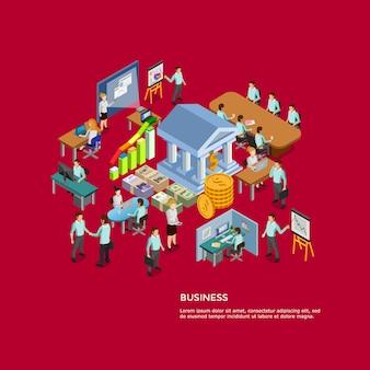 Conjunto de conceito de negócio isométrica