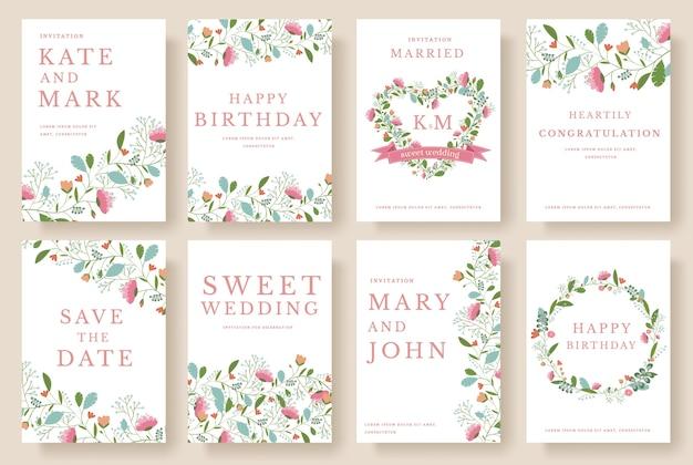 Conjunto de conceito de ornamento de casamento de flores. arte tradicional, revista, livro, cartaz, abstrato, elemento.