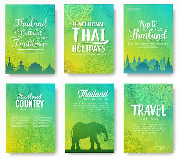 Conjunto de conceito de ornamento do país da tailândia