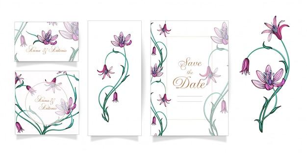 Conjunto de conceito de ornamentos de casamento floral.