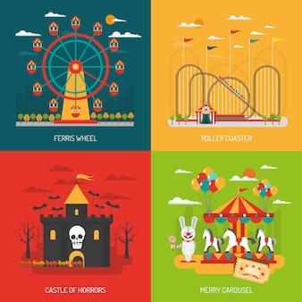 Conjunto de conceito de parque de diversões